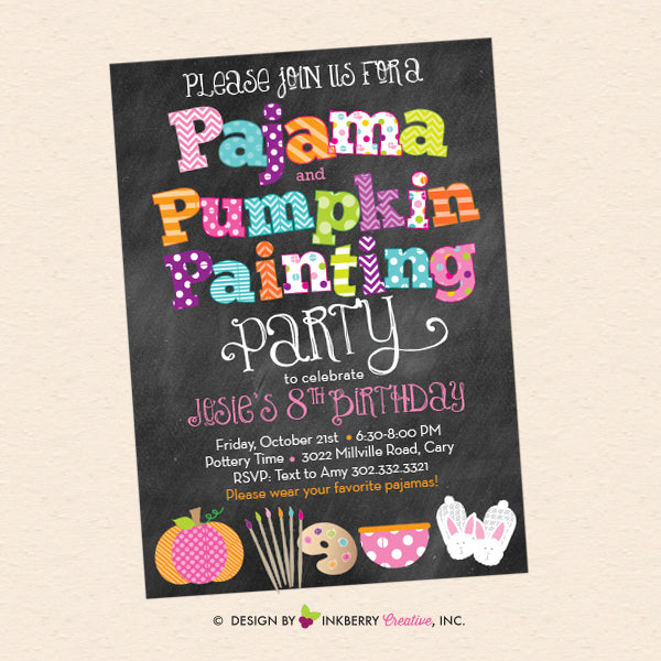 Favorite fall party invitations inkberry creative inc below is the original design our pajamas painting party invitation that we customized to create the unique pumpkin painting theme invitation for our stopboris Image collections