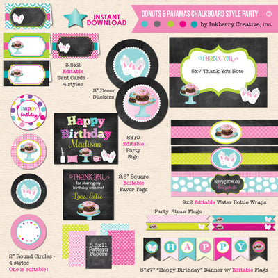 Donuts and Pajamas Chalkboard Style Birthday with Bunny Slippers - DIY Printable Party Pack - inkberrycards