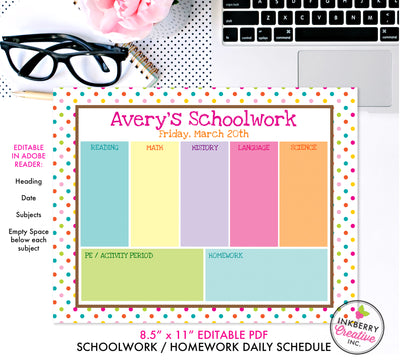 Printable Kids Weekly Schoolwork Planner and To Do List - Instant Download, Editable PDF, Printable Daily Weekly Planner for Kids - Homework, School, Chores