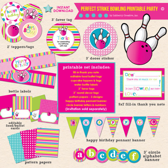 Perfect Strike Girl's Bowling Birthday Party - DIY Printable Party Pack - inkberrycards