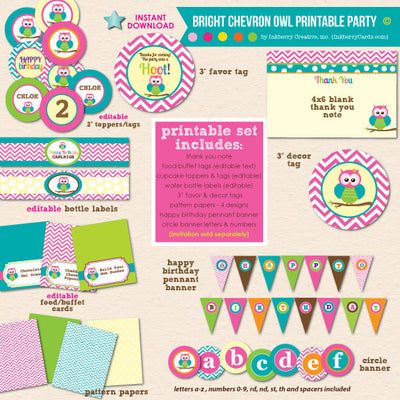 Bright Chevron Owl Birthday - DIY Printable Party Pack - inkberrycards