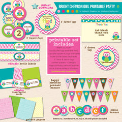 Bright Chevron Owl Birthday - DIY Printable Party Pack