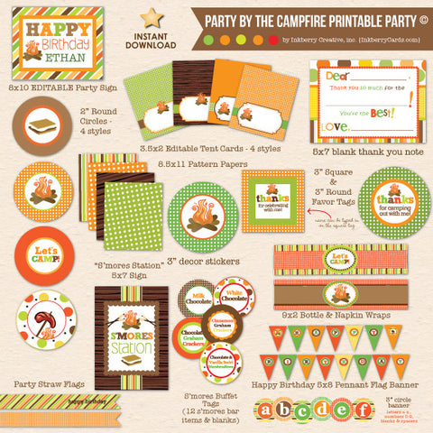 Party by the Campfire - Camping Birthday - DIY Printable Party Pack