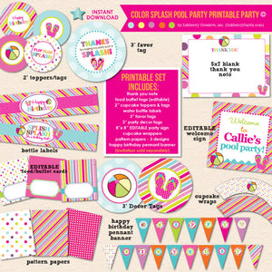 Color Splash Pool Party Birthday - DIY Printable Party Pack
