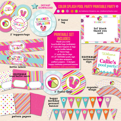 Color Splash Pool Party Birthday - DIY Printable Party Pack - inkberrycards