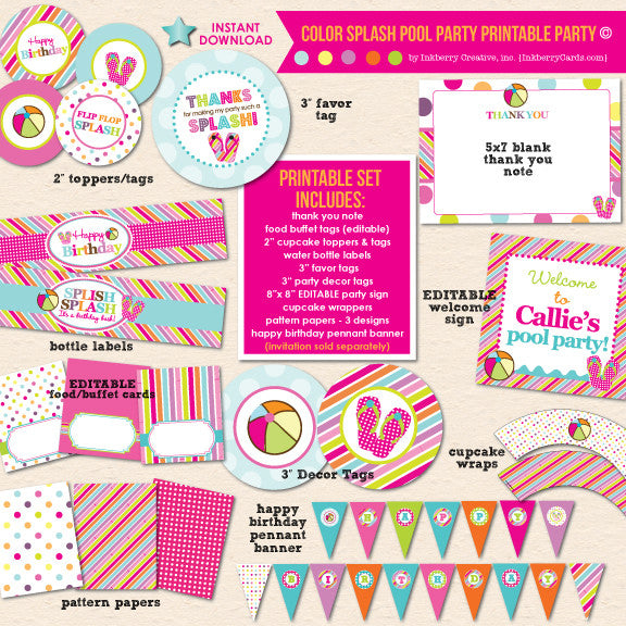 graphic relating to Pool Party Printable titled Coloration Splash Pool Occasion Birthday - Do-it-yourself Printable Get together Pack