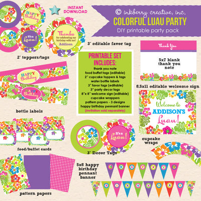 Colorful Luau Birthday Party - DIY Printable Party Pack - inkberrycards