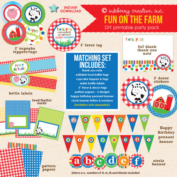 Fun on the Farm (Primary Colors) Barnyard Birthday - DIY Printable Party Pack - inkberrycards