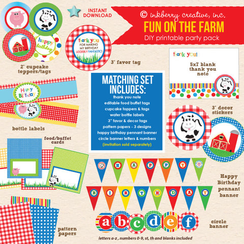Fun on the Farm (Primary Colors) Barnyard Birthday - DIY Printable Party Pack