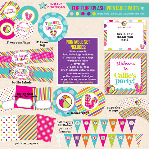 Flip Flop Splash Party Birthday - DIY Printable Party Pack