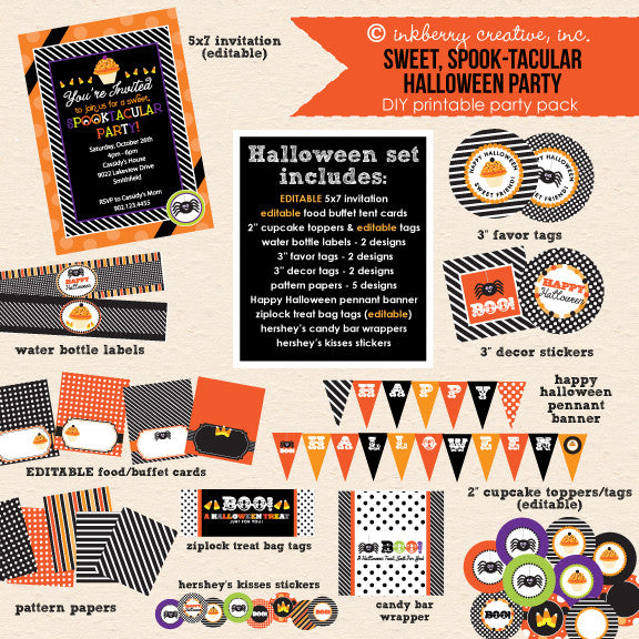ON SALE!!! Sweet Spooktacular Kids' Halloween Party - DIY Printable Party Pack