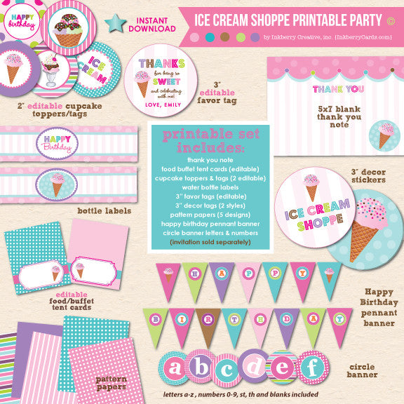 Ice Cream Shoppe Birthday - DIY Printable Party Pack - inkberrycards