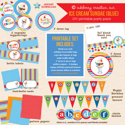 Ice Cream Sundae (Blue & Red) Birthday - DIY Printable Party Pack - inkberrycards