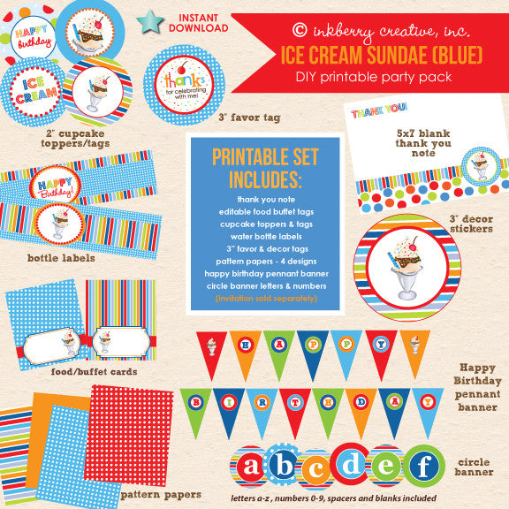 Ice Cream Sundae (Blue & Red) Birthday - DIY Printable Party Pack