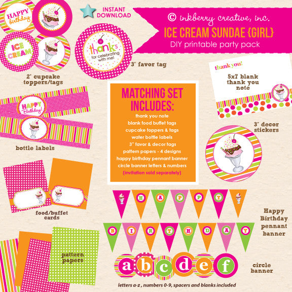 Ice Cream Sundae (Pink & Orange) Birthday - DIY Printable Party Pack - inkberrycards