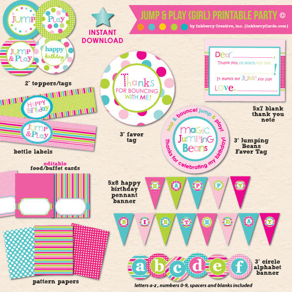 Jump & Play Girl's Bouncing Party - DIY Printable Party Pack