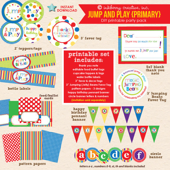 Jump & Play (Primary Colors) Bouncing Party - DIY Printable Party Pack