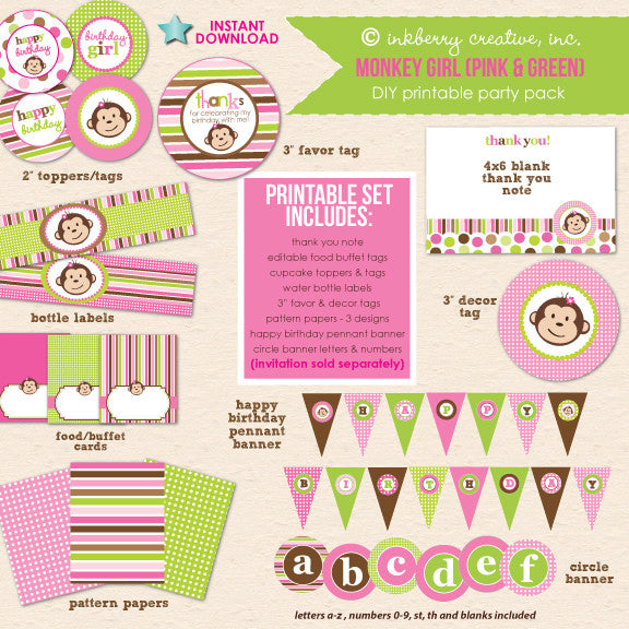 Monkey Girl Birthday (Pink & Green) - DIY Printable Party Pack - inkberrycards