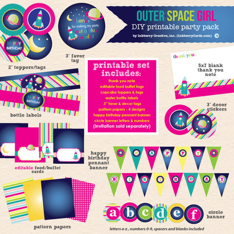 Girl's Out of this World Space Theme Birthday Party - DIY Printable Party Pack