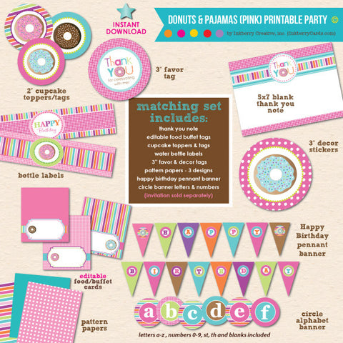 Donuts & Pajamas Birthday - DIY Printable Party Pack