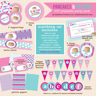 Pancakes & Pajamas Birthday (Pink, Purple & Aqua) - DIY Printable Party Pack - inkberrycards