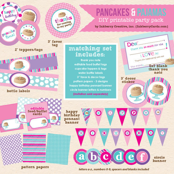 Pancakes & Pajamas Birthday (Pink, Purple & Aqua) - DIY Printable Party Pack