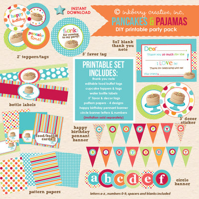 Pancakes & Pajamas Birthday (Original Colors) - DIY Printable Party Pack - inkberrycards