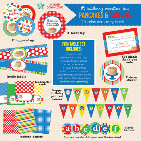 Pancakes & Pajamas Birthday (Primary Colors) - DIY Printable Party Pack