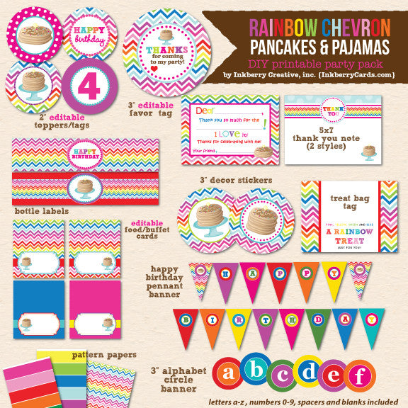 Rainbow Pancakes & Pajamas Birthday - DIY Printable Party Pack - inkberrycards