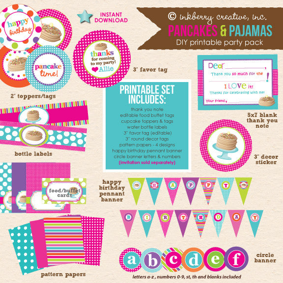 Pancakes & Pajamas Birthday (Hot Pink, Lime & Aqua) - DIY Printable Party Pack - inkberrycards
