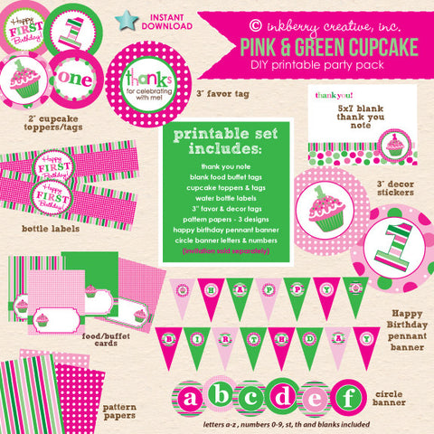 Cupcake Cutie Pie (Pink & Green) 1st Birthday - DIY Printable Party Pack