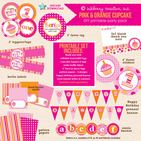 Cupcake Cutie Pie (Pink & Orange) 1st Birthday - DIY Printable Party Pack