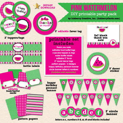 Sweet Watermelon (Pink) Party Birthday - DIY Printable Party Pack