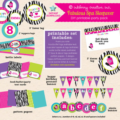 Fabulous Spa Sleepover Birthday - DIY Printable Party Pack - inkberrycards