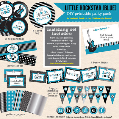 Little Rockstar Boy's Birthday - DIY Printable Party Pack