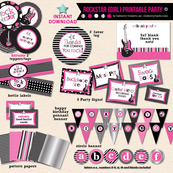 Little Rockstar Girl's Birthday - DIY Printable Party Pack - inkberrycards