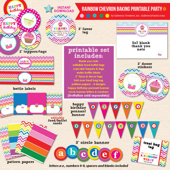 Colorful Rainbow Baking Birthday - DIY Printable Party Pack - inkberrycards