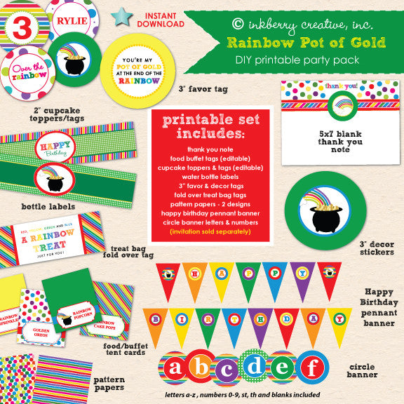 Rainbow Pot of Gold Birthday - DIY Printable Party Pack