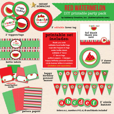 Sweet Watermelon (Red) Party Birthday - DIY Printable Party Pack - inkberrycards
