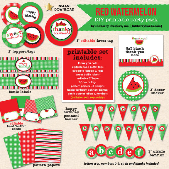 Sweet Watermelon (Red) Party Birthday - DIY Printable Party Pack