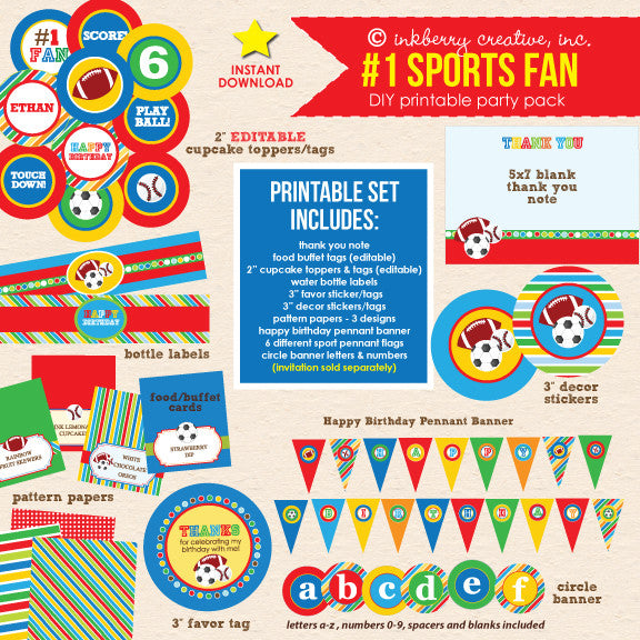 Sports Fan Birthday Party - DIY Printable Party Pack