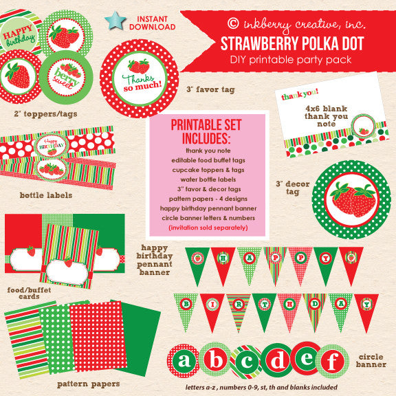 Strawberry Polka Dot Birthday Party - DIY Printable Party Pack