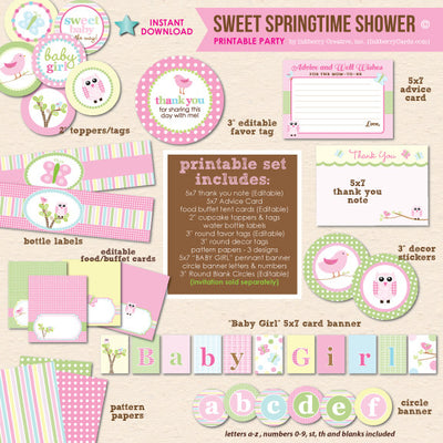 Sweet Springtime Baby Shower - DIY Printable Party Pack - inkberrycards