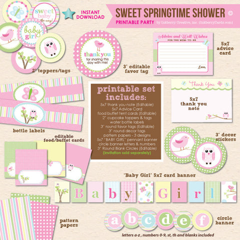 Sweet Springtime Baby Shower - DIY Printable Party Pack