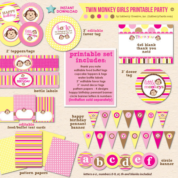 Twin Monkey Girls Birthday (Pink & Yellow) - DIY Printable Party Pack