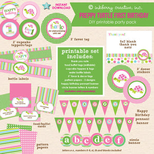 Preppy Turtle Girl First Birthday Shell-a-bration - DIY Printable Party Pack