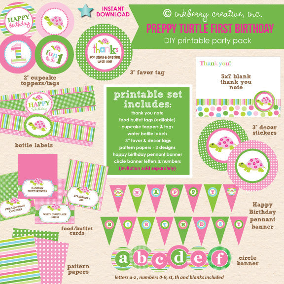 Preppy Turtle Girl First Birthday Shell-a-bration - DIY Printable Party Pack - inkberrycards