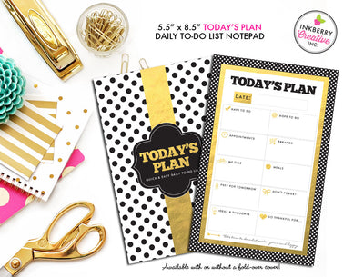 To Do List Notepad - Today's Plan - Premium Daily Planner Notepad - Gold, Black and White Dot
