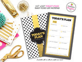To Do List Notepad - Today's Plan - Premium Daily Planner Notepad - Gold, Black and White Dot - inkberrycards