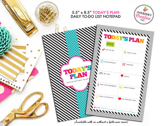 To Do List Notepad - Today's Plan - Premium Daily Planner Notepad - Black and White Rainbow Stripe - inkberrycards
